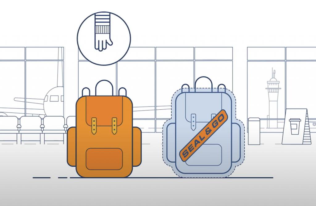 backpack in vliegtuig